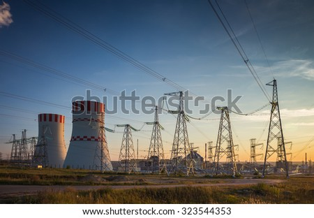 cooling tower of a nuclear power plant - stock photo
