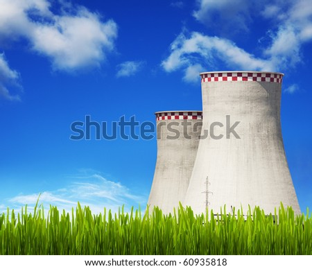cooling-tower on blue sky - stock photo