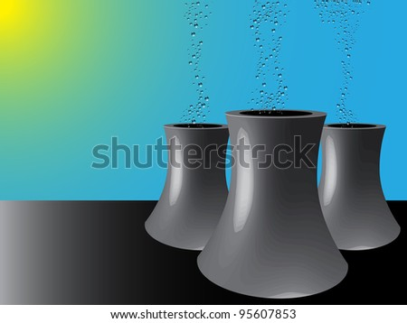 cooling towers, abstract art illustration - stock photo