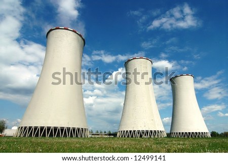 Cooling towers in power plant Detmarovice (Czech Republic) - stock photo