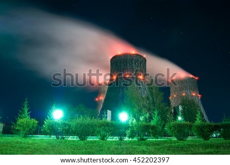 cooling towers. russia, novosibirsk. night view - stock photo