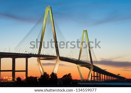 Cooper River Arthur Ravenel Jr. Bridge in Charleston South Carolina - stock photo
