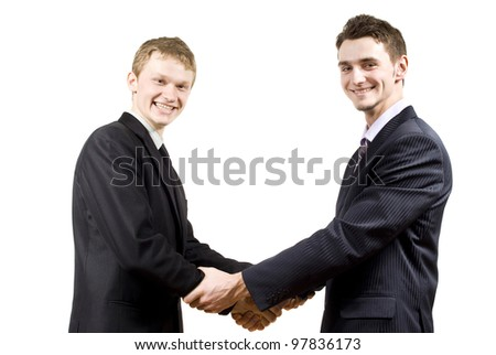 cooperation between the two partners on an isolated background - stock photo