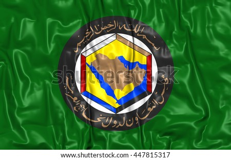 Cooperation Council for the Arab States of the Gulf Flag. 3D Illustration. - stock photo