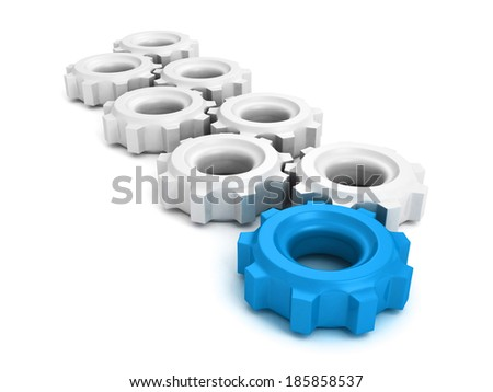 cooperation teamwork leadership concept gears with one blue. 3d render illustration - stock photo