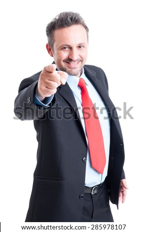 Coorporate employeer choosing you for the job by pointing finger to the camera - stock photo