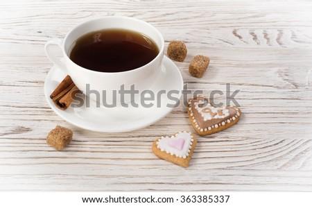 cop of tea with cookies - stock photo