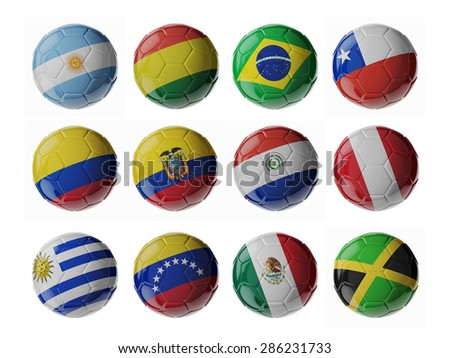 Copa America 2015. Set of 3d soccer balls with flags. - stock photo