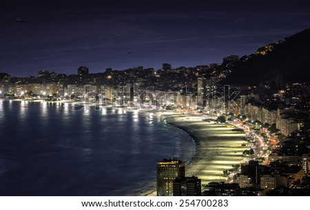 Copacabana Beach at night in Rio de Janeiro, Brazil - stock photo