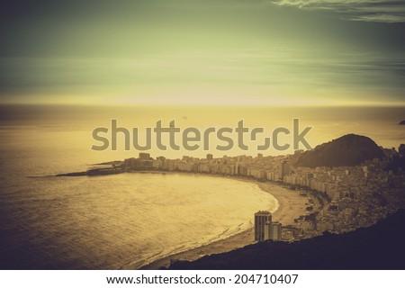Copacabana Beach vintage view in Rio de Janeiro, Brazil - stock photo