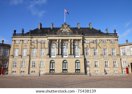 Copenhagen - Amalienborg, royal palace in Frederiksstaden district. Capital city of Denmark. - stock photo
