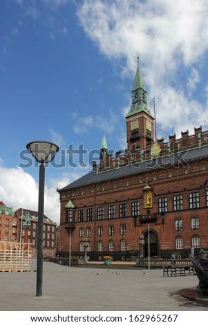 Copenhagen City Hall (Radhus) at sunny summer day. Denmark. - stock photo
