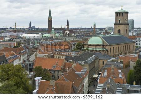 Copenhagen city skyline as seen from the Round Tower, Denmark - stock photo