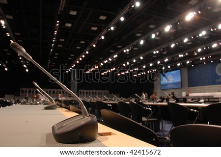 COPENHAGEN - DEC 7:  Opening Day,   Main Congress hall, Tycho Brache, delegates after the opening ceremony in the Bella Center at the UN Climate Change Conference on December 7, 2009 in Copenhagen, Denmark. - stock photo