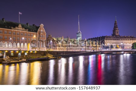 Copenhagen, Denmark cityscape at Christianborg Palace. - stock photo