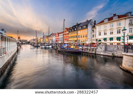 Copenhagen, Denmark cityscape on the Nyhavn Canal. - stock photo