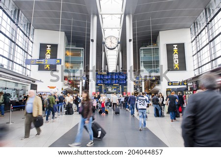 COPENHAGEN, DENMARK - JULY 1: Lufthavnen Airport on July 1, 2014 in Copenhagen - stock photo