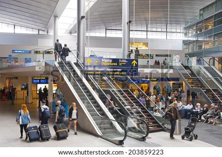 COPENHAGEN, DENMARK - JULY 1: Lufthavnen Airport Terminal on July 1, 2014 in Copenhagen - stock photo