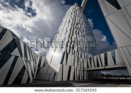 Copenhagen Denmark - September 25, 2014: The Bella Sky Comwell Hotel is a 4-star conference hotel adjacent to the Bella Convention and Congress Center in the Orestad district of Copenhagen, Denmark. - stock photo
