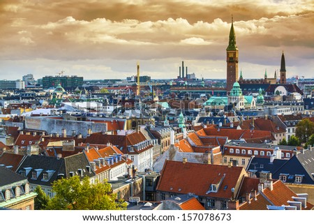 Copenhangen, Denmark aerial view of the skyline. - stock photo
