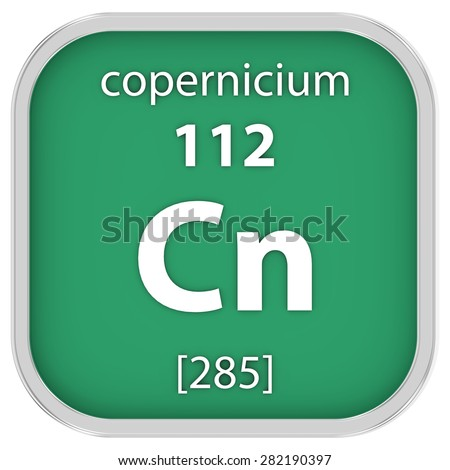 Copernicium material on the periodic table. Part of a series. - stock photo