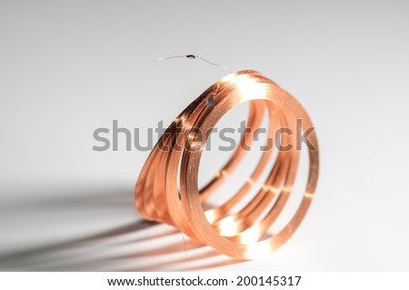 copper coil  with chip modul side view ring - stock photo