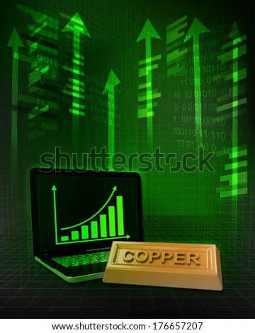 copper commodity with positive online results in business illustration - stock photo