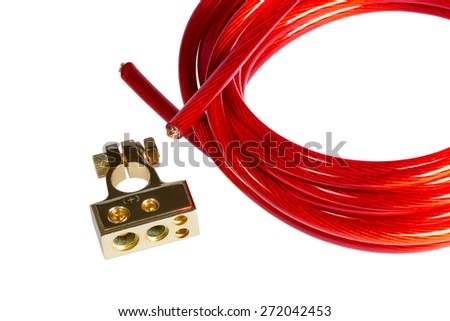 Copper electric power cable and positive contact terminal CAR battery isolated on white background - stock photo