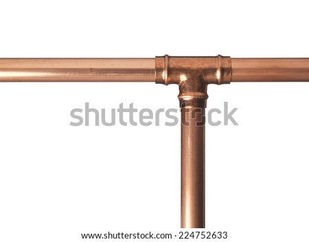 Copper pipe on white with connector - stock photo