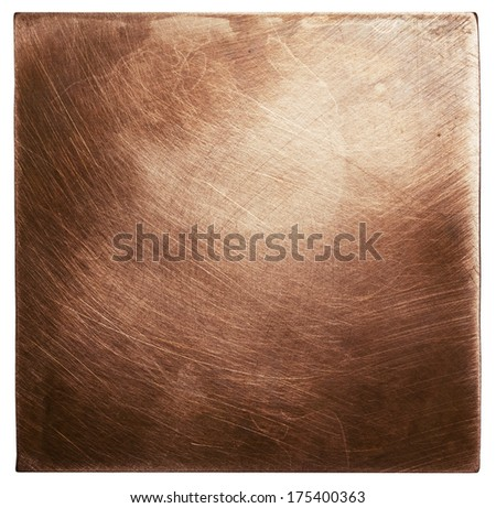Copper plate texture, old metal background. - stock photo