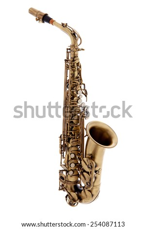 copper saxophone instrument over white background - stock photo