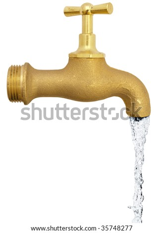 copper water tap over the white background - stock photo