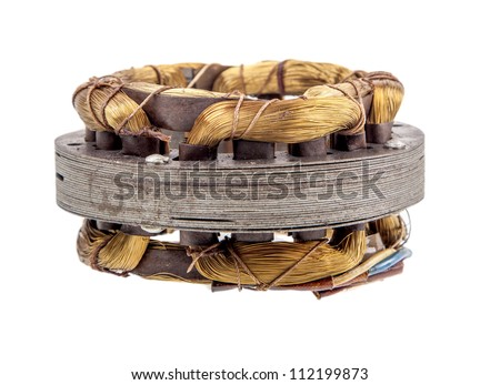 copper wire in a motor, electric magnetic device for rotor - stock photo