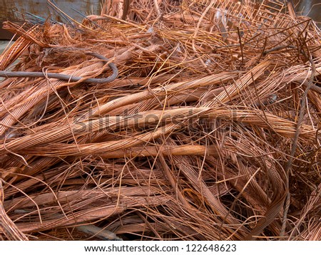 copper wire in a recycle yard - stock photo