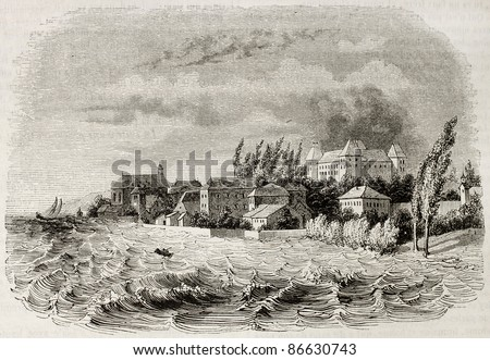 Coppet old view, Switzerland. Created by Girardet, published on Magasin Pittoresque, Paris, 1843 - stock photo
