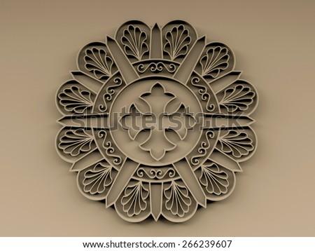 Coptic orthodox cross on wooden church door - stock photo