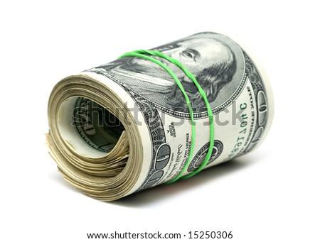 copula of dollars on white background - stock photo
