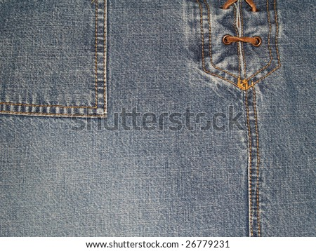 Copy Space on a Close-up view of denim pants or skirt with laces up the front and pocket. - stock photo