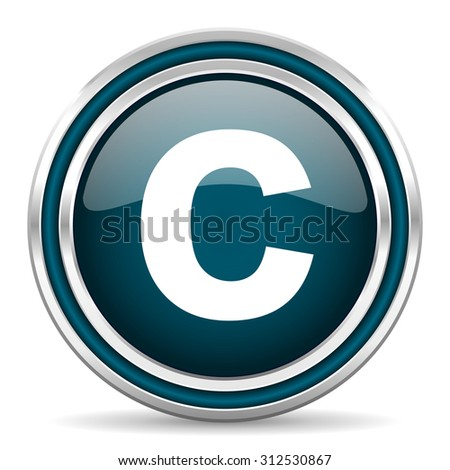 copyright blue glossy web icon with double chrome border on white background with shadow    - stock photo