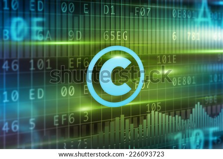 Copyright concept with green background blue icon - stock photo