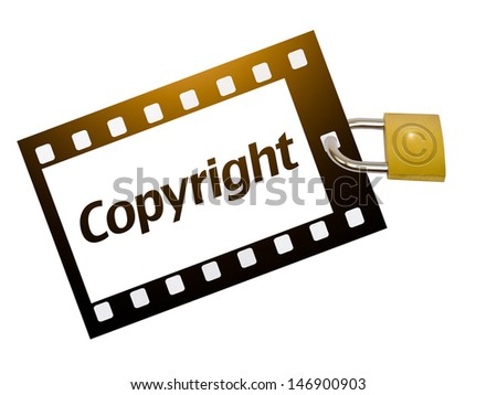 Copyright concept with padlock isolated on white - stock photo