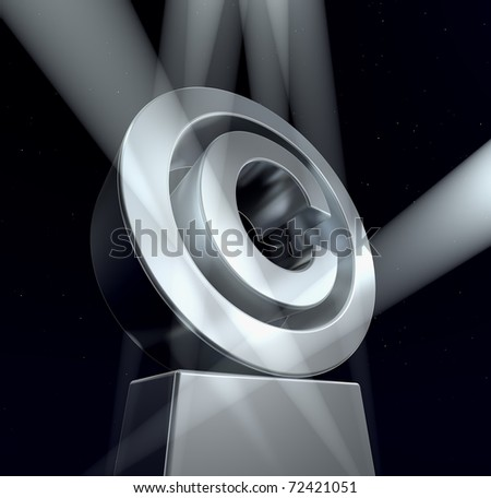 Copyright Copyright sign in silver on a silver pedestal at a black background. 3d - stock photo