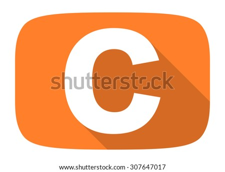copyright flat design modern icon with long shadow for web and mobile app  - stock photo