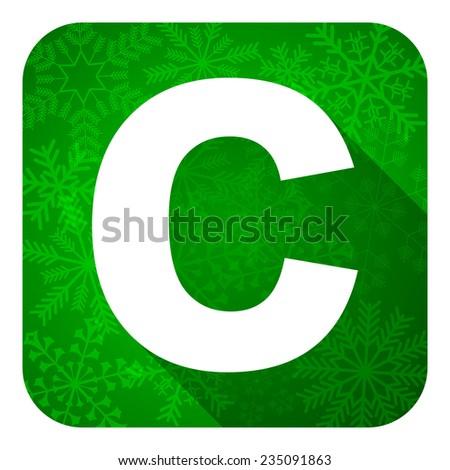 copyright flat icon, christmas button  - stock photo