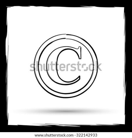 Copyright icon. Internet button on white background. Outline design imitating paintbrush. - stock photo