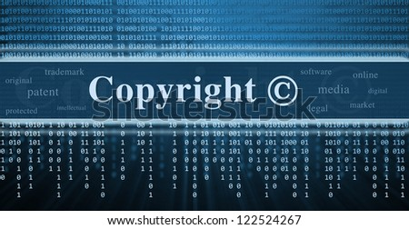 Copyright message concept. Binary code, technology background - stock photo