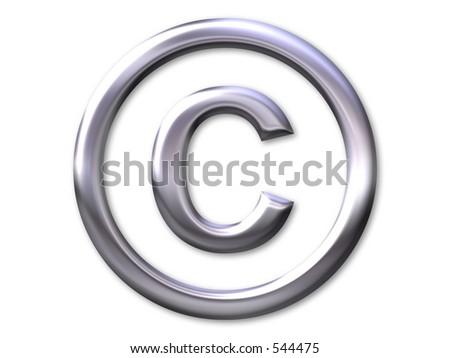 Copyright – silver bevel - stock photo