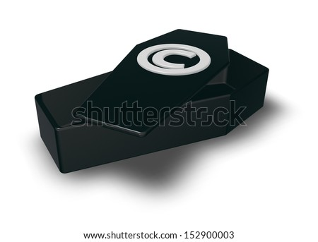copyright symbol on black casket - 3d illustration - stock photo
