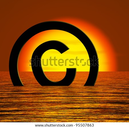 Copyright Symbol Sinking Meaning Piracy Or Infringements - stock photo