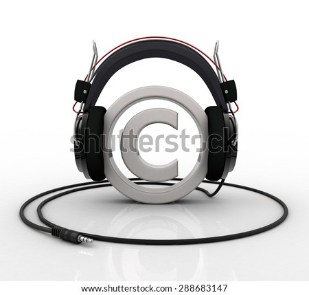 Copyright symbol wearing headphones - stock photo